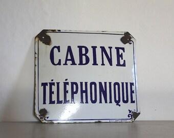 Original French Enamel Public Telephone Sign