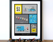Cycling Art, Tour de France, French Cycling Terms, Art Print