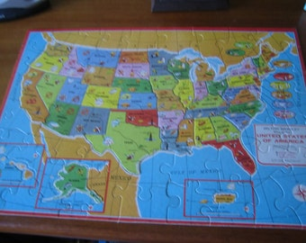 1975 Milton Bradley Double Sided United States Puzzle