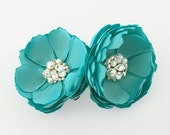 Turquoise Satin Flowers - Hair Clips, Shoe Clips, Brooch With Swarovski Crystals for a Bride, Bridesmaids Gift Special Event - Kia