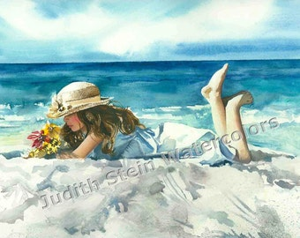 """Girl in Straw Hat Lounging on Beach, White Dress, Seashore, Children Watercolor Painting Print, Wall Art, Home Decor, """"Lazy Days of Summer"""""""""""