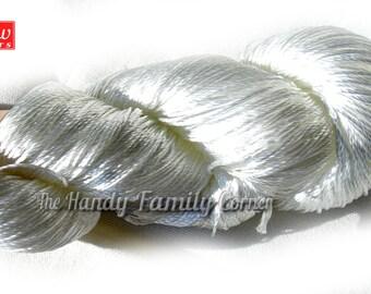 "Viscose Silk Yarn: Shining, Superfine / Lace weight, bright crochet yarn, color white, optic white (35). Yarn ""ajur""."