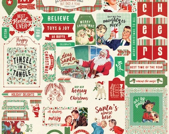 """NEW! IN STOCK! Authentique Paper """"Retro Christmas"""" Stickers"""