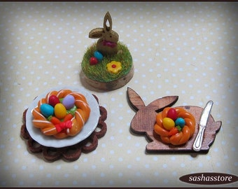 Miniature dollhouse easter decoration, 12th scale easter nest, easter cake, easter food, polymer clay miniature