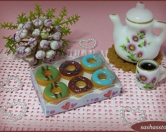 Donuts dollhouse miniature food, dollhouse store, roombox accessory