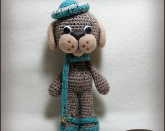 Cute crochet dog, amigurumi dog, with needle felted details, soft sculpture