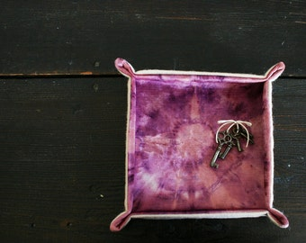 Soft Sculpture Catch All Tray in Wool And Hand Dyed Velvet- Magenta