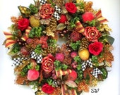Holiday Fruit Wreath-Seasonal Wreath-MacKenzie Childs Ribbon-Fall/Thanksgiving/Christmas Wreath~Copper,Gold,Red,Green~Frosted, Sparkle,Full