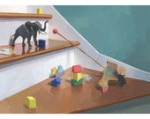 """5x7"""" print - toy still life - """"Toys on the Stairs"""""""