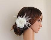 Custom listing for kjhaydon1: 1 x Wedding Ivory Flower Feather Pearl Fascinator and 2 x Pearl Rhinestone Jewels