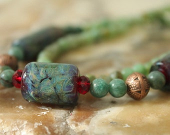 handmade lampwork, green adventurine, and copper necklace