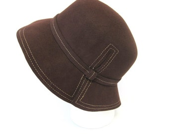 Vintage Brown Wool Bucket Cloche Hat by Magid Hats
