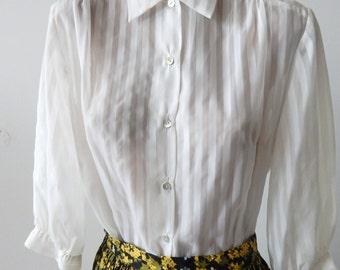 Sweet Vintage 1950s Blouse Semi-Sheer White Stripes, Shell Buttons Sz M-L