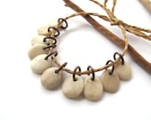 Stone Beads Natural Stone Charms Jewelry Findings Mediterranean River Stone Beads Top Drilled Rock Pairs BEIGE MIX 13-15 mm