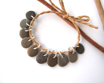 Natural Stone Beads Mediterranean Beach Stone Beads Rock Charms River Stone Beads Pebble Pairs Diy Jewelry Small KHAKI MIX 12 mm