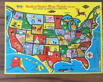 United States Map Vintage Puzzle, Inlaid Jigsaw, Built Rite, State Capitals and Products, Complete