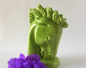 Haeger Chartreuse Green Horse Head Single Bookend, Vase, Planter, Mid Century Pottery