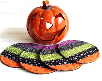 Halloween Coaster Set, Fabric Mug Rugs, Orange Purple Green Black