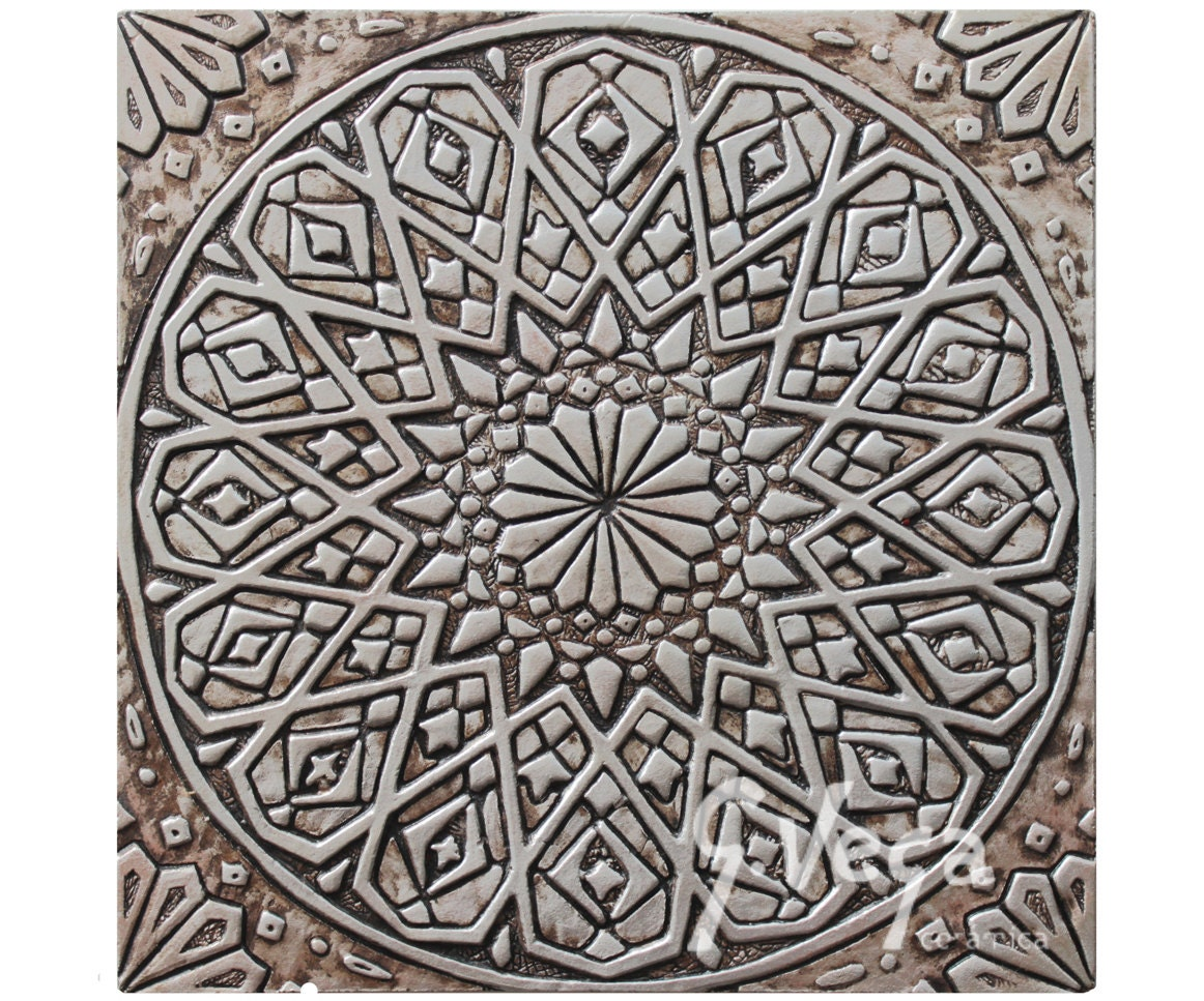 Moroccan Wall Hanging Carved In Deep Relief Ceramic Tile