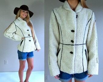 Half Off vtg 80s cream FAUX SHEARLING COAT xs/s boho hippie jacket brown leather trim outerwear avant garde