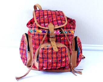 vtg red EMBROIDERED woven SOUTHWESTERN BACKPACK plaid birds colorful leather large weekender bag Guatemalan rainbow festival