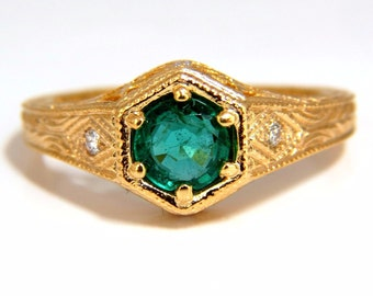 0.52ct Natural Round Brilliant Emerald diamond ring 14kt edwardian