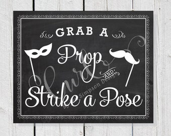 Wedding Signage, Grab a Prop 8x10 Photo Booth Sign, Chalkboard Sign