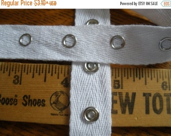 "White Snap Tape Cotton Twill silver metal 3/4"" wide BTY by the yard yardage fasteners cool hanger trim crafts 1"" spaced 5/16"" 12L snaps"