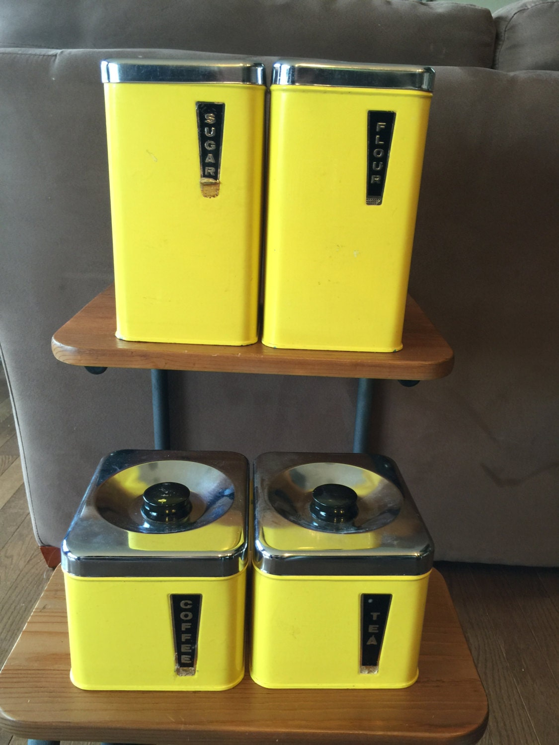 vintage bright yellow metal kitchen canister set/retro