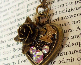Heart Pendant (HP603) - Bronze Filigree Heart with Rose and Butterfly - Swarovski Crystals in Mickey Ear Pattern