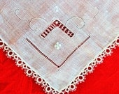 Bridal handkerchief fine linen with tatted lace edges / vintage new old stock with tag / romantic retro wedding