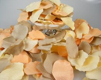 500 Rose Petals / Vintage Wedding Theme/ Peach Cream Tan Bulk Artificial Flower Petals / Aisle Decoration Flower Girl Petals