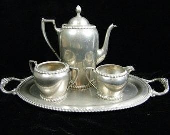 Art Deco Vintage Pewter Tea Coffee Serving Set - Creamer set and Serving Tray - Pilgrim Solid Pewter 2406 Tea Set - Vintage Wedding Gift