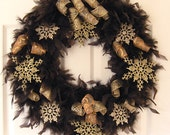 "Winter Feather Wreath with Gold Snowflakes 18"" Ready to Ship"