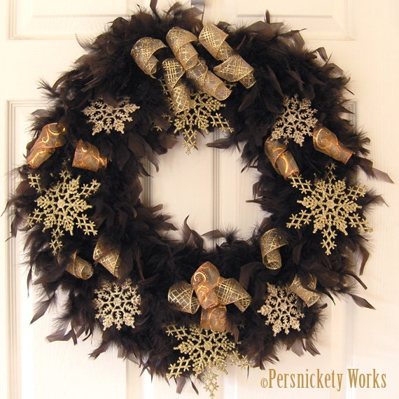Winter Feather Wreath with Gold Snowflakes 18 by PersnicketyWorks