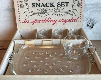 Crystal snack set.  4 cups and 4 plates snack serving set.