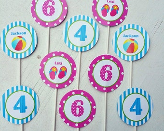 Pool Party Cupcake Toppers - Printable or Assembled/Shipped with FREE Shipping - Sibling Pool Party Collection