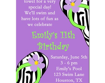 Pool Party Invitation, Spa Party Invitation, Swim Party, Summer Fun Printable or Printed with FREE SHIPPING - Purple