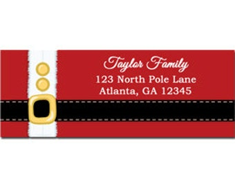 Christmas Santa Belt Labels Printable or Printed - Printable Enclosure, Gift Tag or Return Address Label
