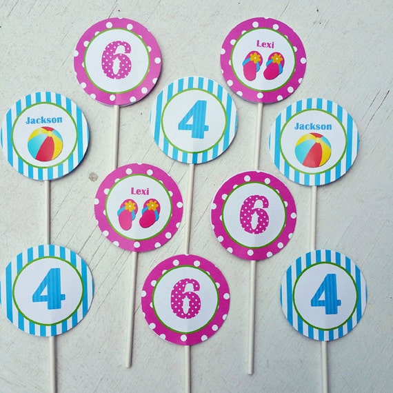 Pool Party Cupcake Toppers Printable Or Assembled/Shipped