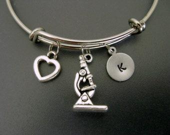 Science Bracelet / Science Bangle / Microscope Bracelet / Laboratory Microscope Bangle / Personalized Bracelet / Adjustable Charm Bangle