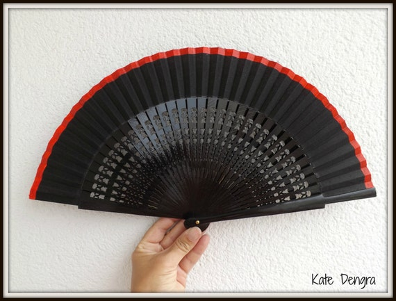 Coral Pink Border Black Hand Fan READY to Ship