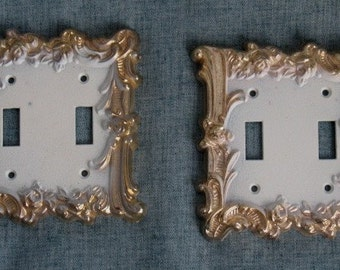 2 Vintage Metal Light Switch Covers Floral Design Brass French Provincial Chic
