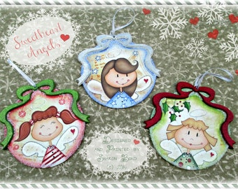 E PATTERN - Includes ALL 3 Angel Ornament Designs!! Sweetheart Angels - Designed & Painted by Sharon Bond - FAAP