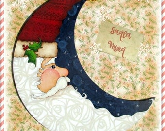 E PATTERN - Lovely Santa Crescent Moon - Starry Sky Background - Designed & Painted by Me, Sharon B - FAAP