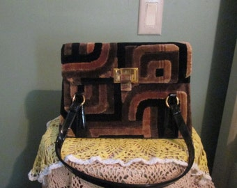 60s Meyers Fabric Carpet Handbag / Brown, Black, Gold Geometric Purse
