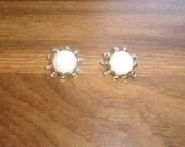 vintage clip on earrings white glass goldtone napier