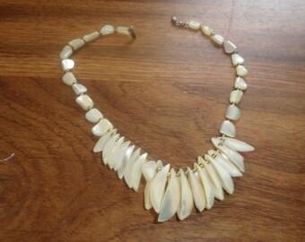 vintage necklace choker glass shell