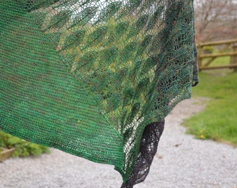 Summer Leaves Lace Stitch Shawl Knitting Pattern pdf