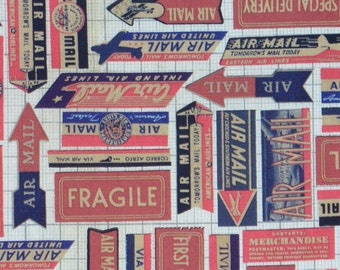 Tim Holtz Air Mail Fabric, Correspondence Fabric, Eclectic Elements, Quilting Cotton, By the Yard, Tim Holtz